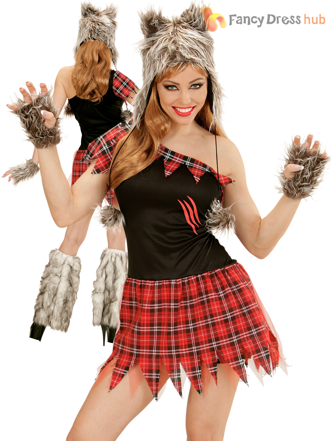 Ladies-Werewolf-Costume-Sexy-Wolf-Lady-Halloween-Fancy-  sc 1 st  eBay & Ladies Werewolf Costume Sexy Wolf Lady Halloween Fancy Dress Womens ...
