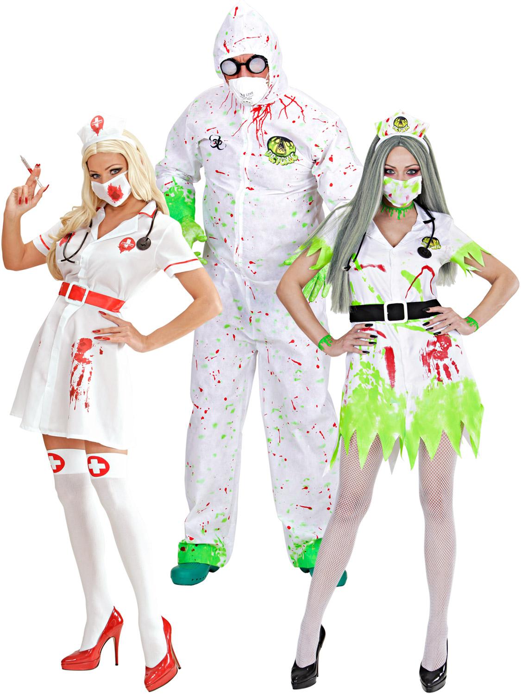 Mens Ladies Zombie Biohazard Costume Doctor Nurse Halloween Couples Fancy Dress