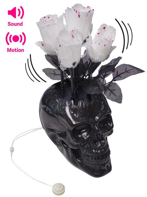 Black Skull Vase with Bloody Rose