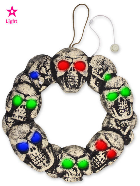 Light Up Skull Wreath
