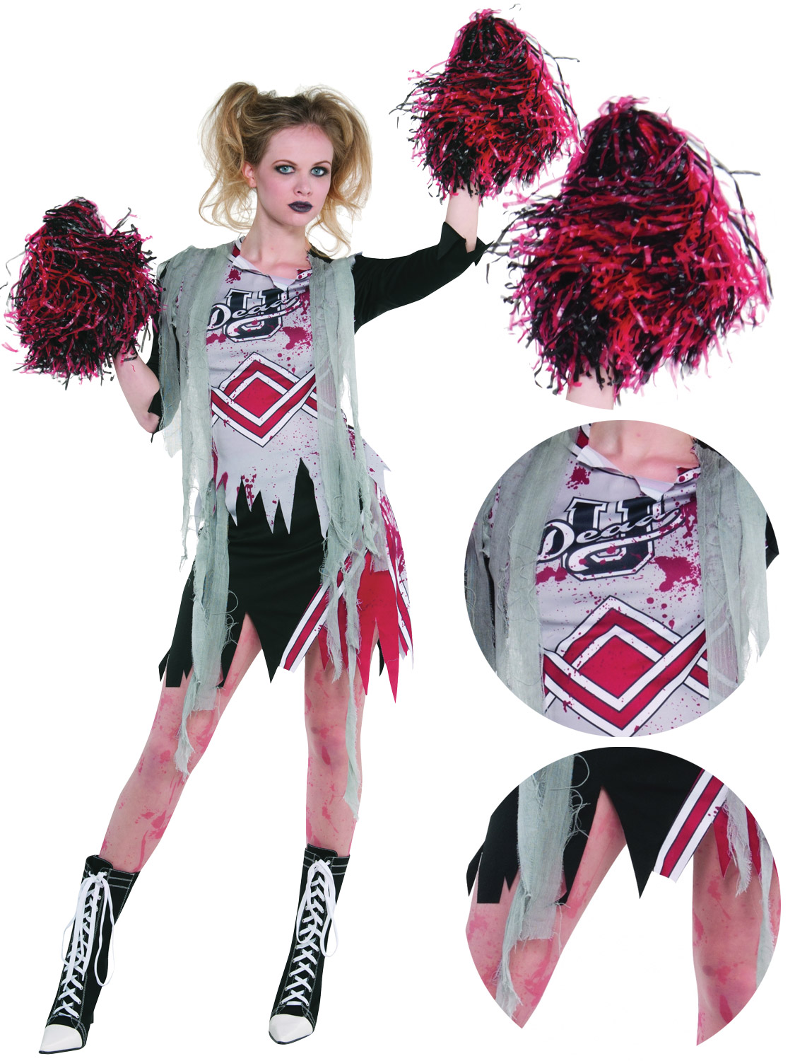 This Ladies Zombie Cheerleader Costume features a classic cheerleader uniform with a shredded zombie twistu2026 Ideal for Halloween Party!  sc 1 st  eBay & Ladies Cheerless Zombie Costume Adults Cheerleader Halloween Fancy ...