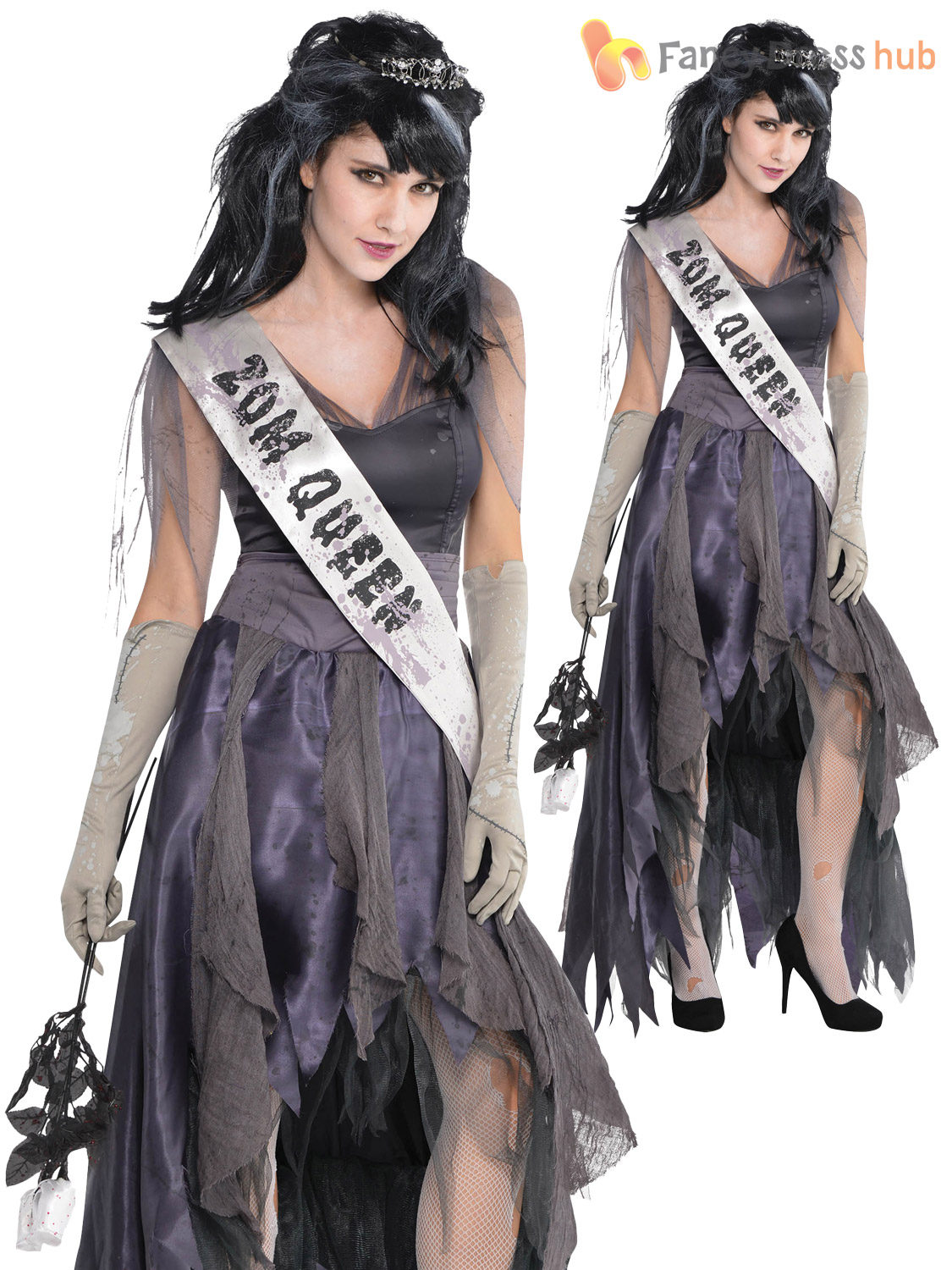 Ladies Homecoming Corpse Costume Adults Zombie Prom Queen Halloween ...