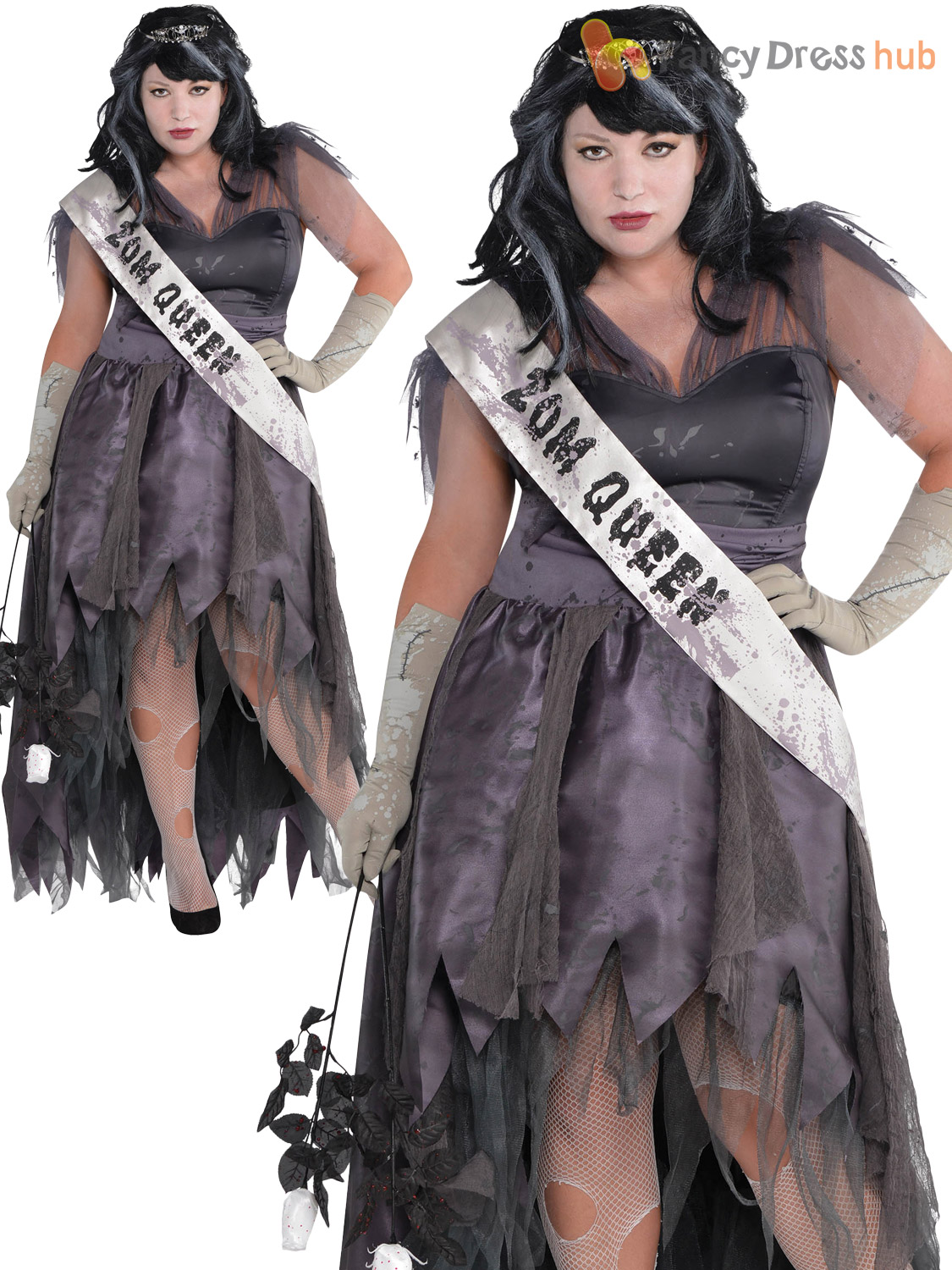 Ladies Zombie Dead Prom Queen Halloween Fancy Dress Costume Womens Outfit