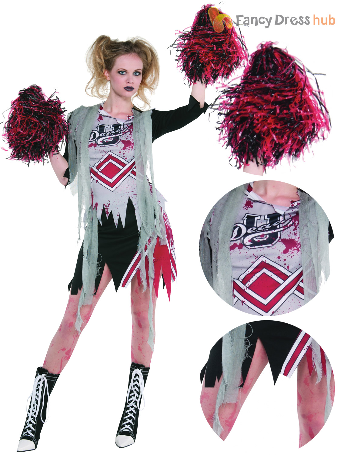 6405a7713baa8 Details about Ladies Cheerless Zombie Costume Adults Cheerleader Halloween  Fancy Dress Teen