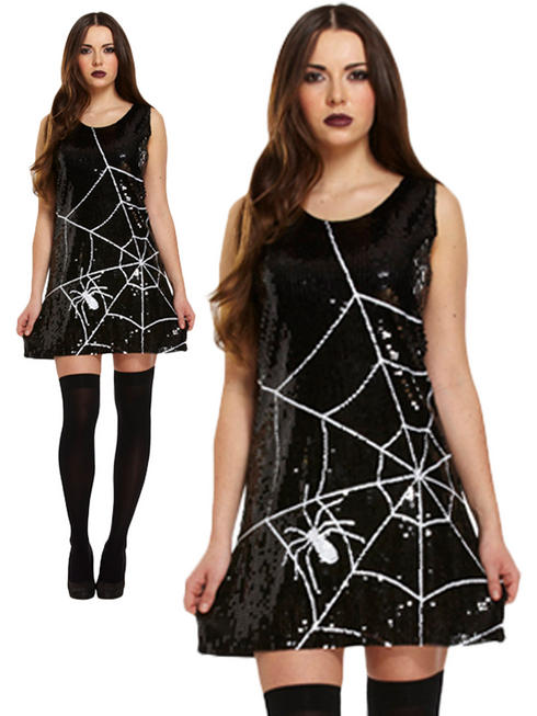 Ladies Sequin Spider Dress