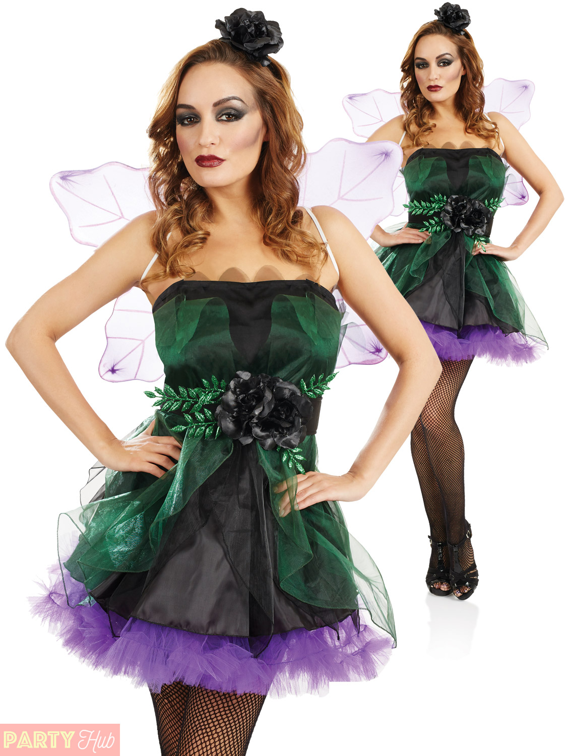 Ladies-Dark-Fairy-Nymph-Costume-Adults-Halloween-Fancy-Dress-Womans-Pixie-Outfit