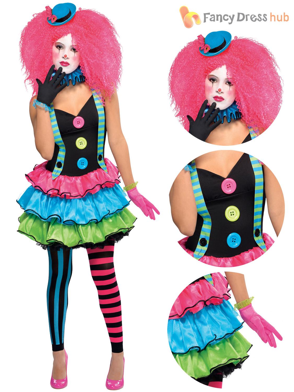 girls teen cool clown costume circus fancy dress party halloween