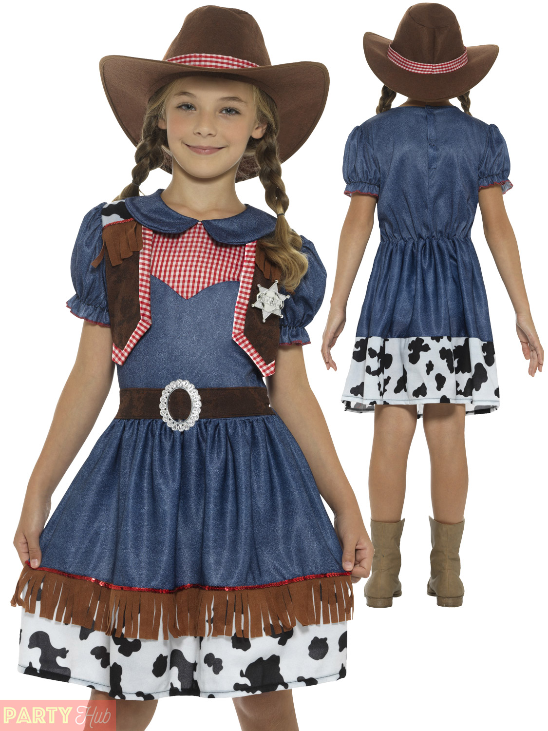 Texan Cowgirl Costume Dress Girls Fancy Outfit Wild Western Book