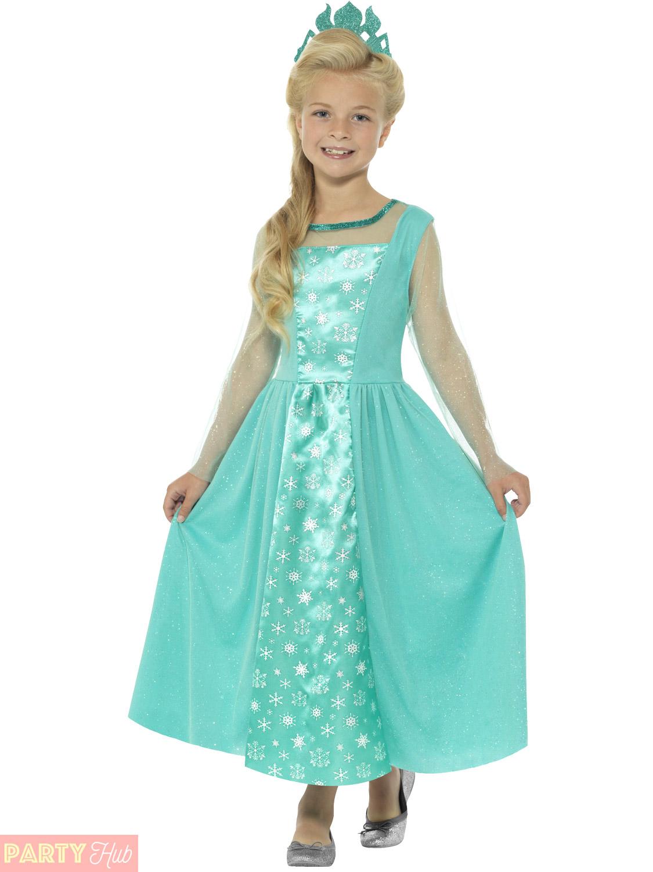 S Elsa Ice Princess Costume Childs Fairytale Fancy