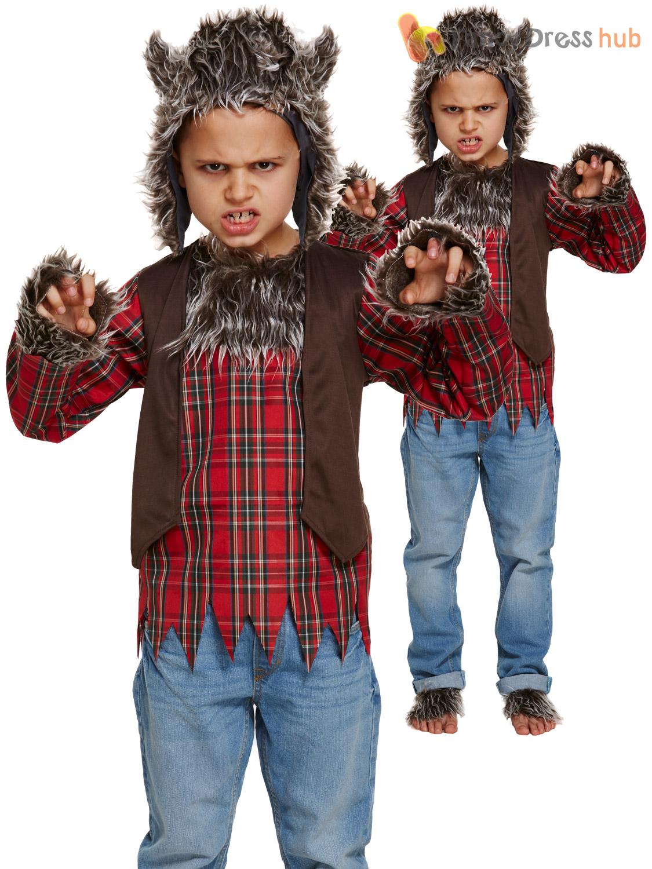 Childs-Werewolf-Costume-Boys-Girls-Wolf-Halloween-Fancy-Dress-Kids-Teen-Outfit