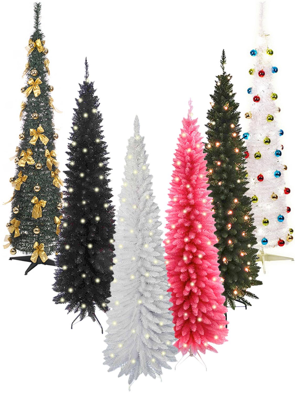 Pre Lit Slim Christmas Tree 6ft LEDS Pop Up Decoration ...