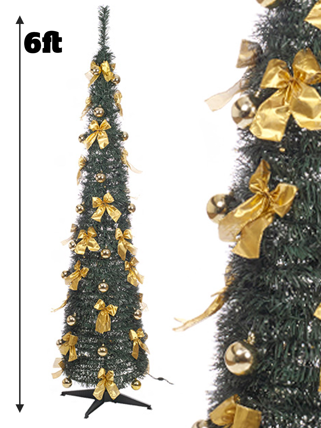 Pre Lit Slim Christmas Tree 6ft LEDS Pop Up Decoration ...