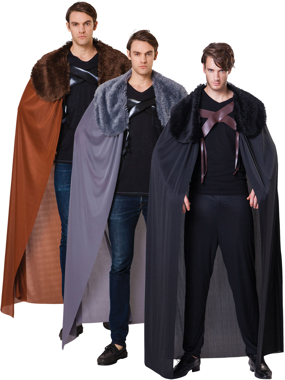MENS MEDIEVAL BROWN FUR COLLARED CAPE KING THRONES COSTUME FANCY DRESS