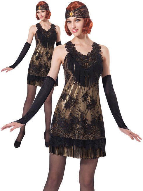 Ladies Black & Gold Lace Flapper