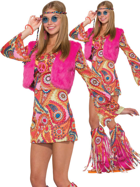 Ladies Hippy Fur-Rever Groovy Costume