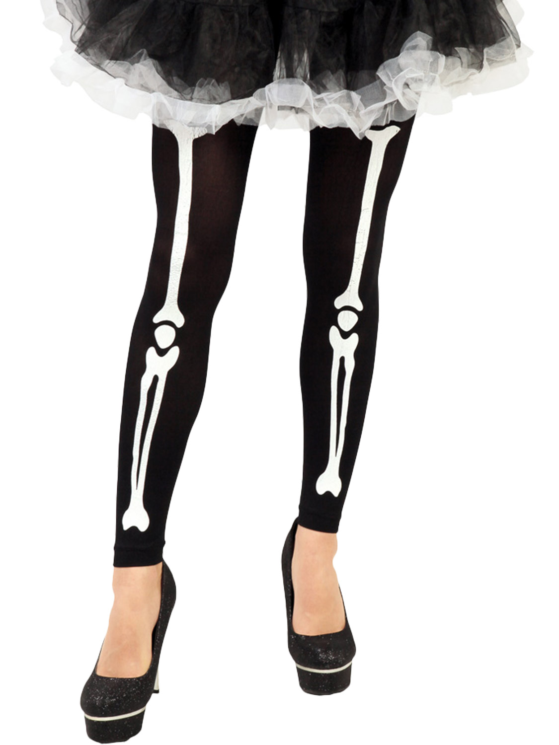 43970973f2f795 Details about Ladies Skeleton Print Footless Tights Adults Halloween Fancy  Dress Accessory STD