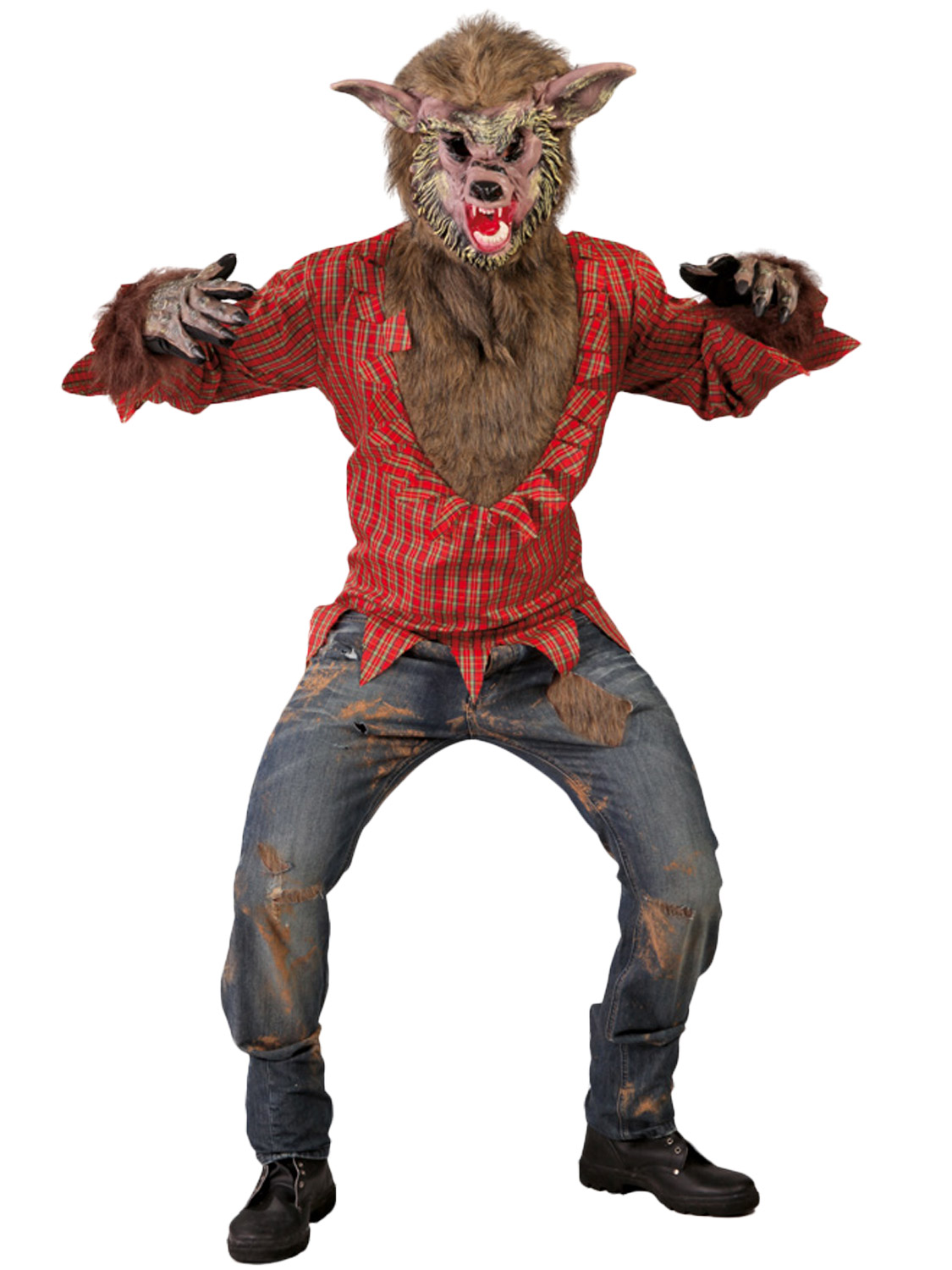 Adults werewolf costume mens wolf halloween fancy dress horror teen transform yourself into a scary werewolf with this mens wolf costume ideal if you want to spooky fellow halloween party goers solutioingenieria Image collections