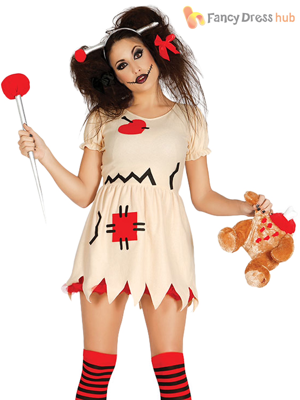 Ladies Voodoo Doll Costume Halloween Broken Zombie Dolly Fancy Dress
