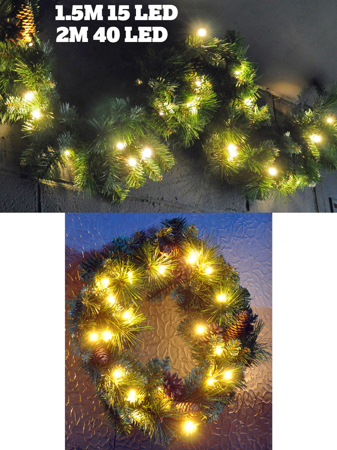 Christmas Lighted Garlands.Details About Pre Lit Led Christmas Garland Wreath Xmas Decoration Traditional Warm White