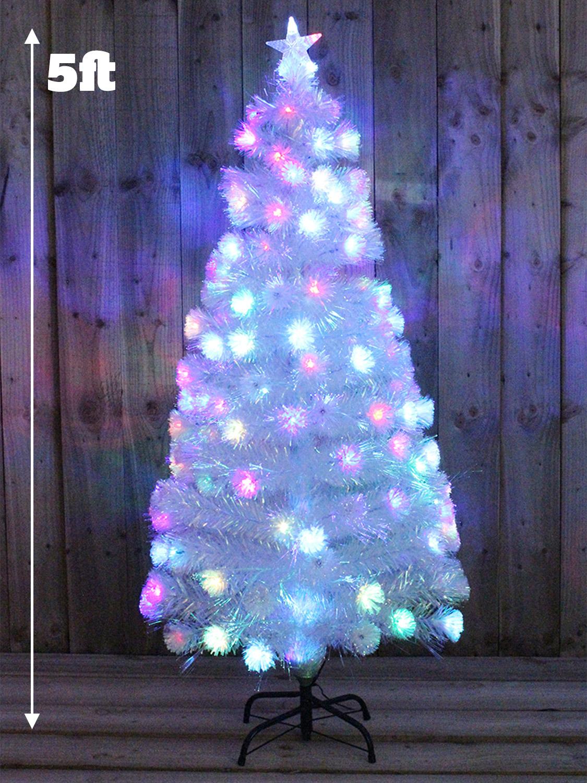 White Rainbow Pre Lit Christmas Tree Fibre Optic Xmas LED Decoration ...