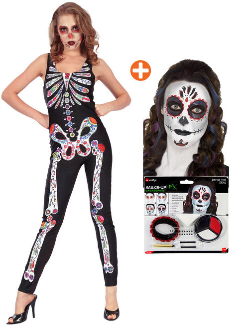 Ladies Day of the Dead Jumpsuit & Make Up Kit