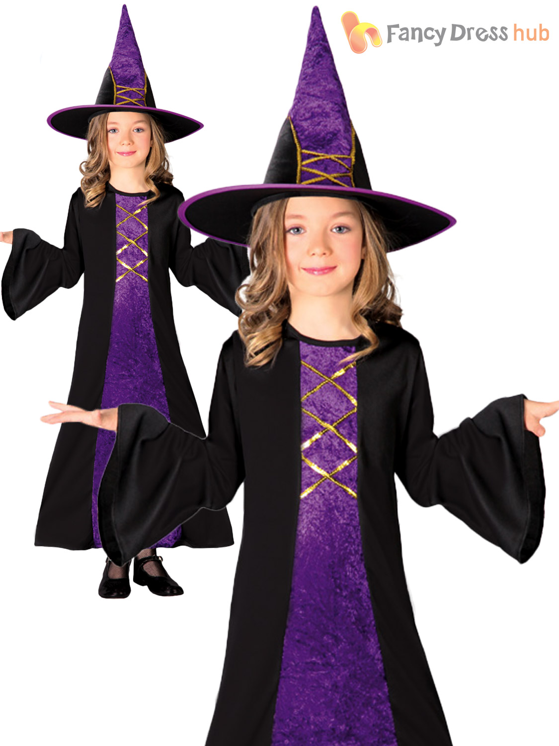 Childs Long Witch Costume Girls Halloween Fancy Dress Kids Witches Outfit Hat Ebay