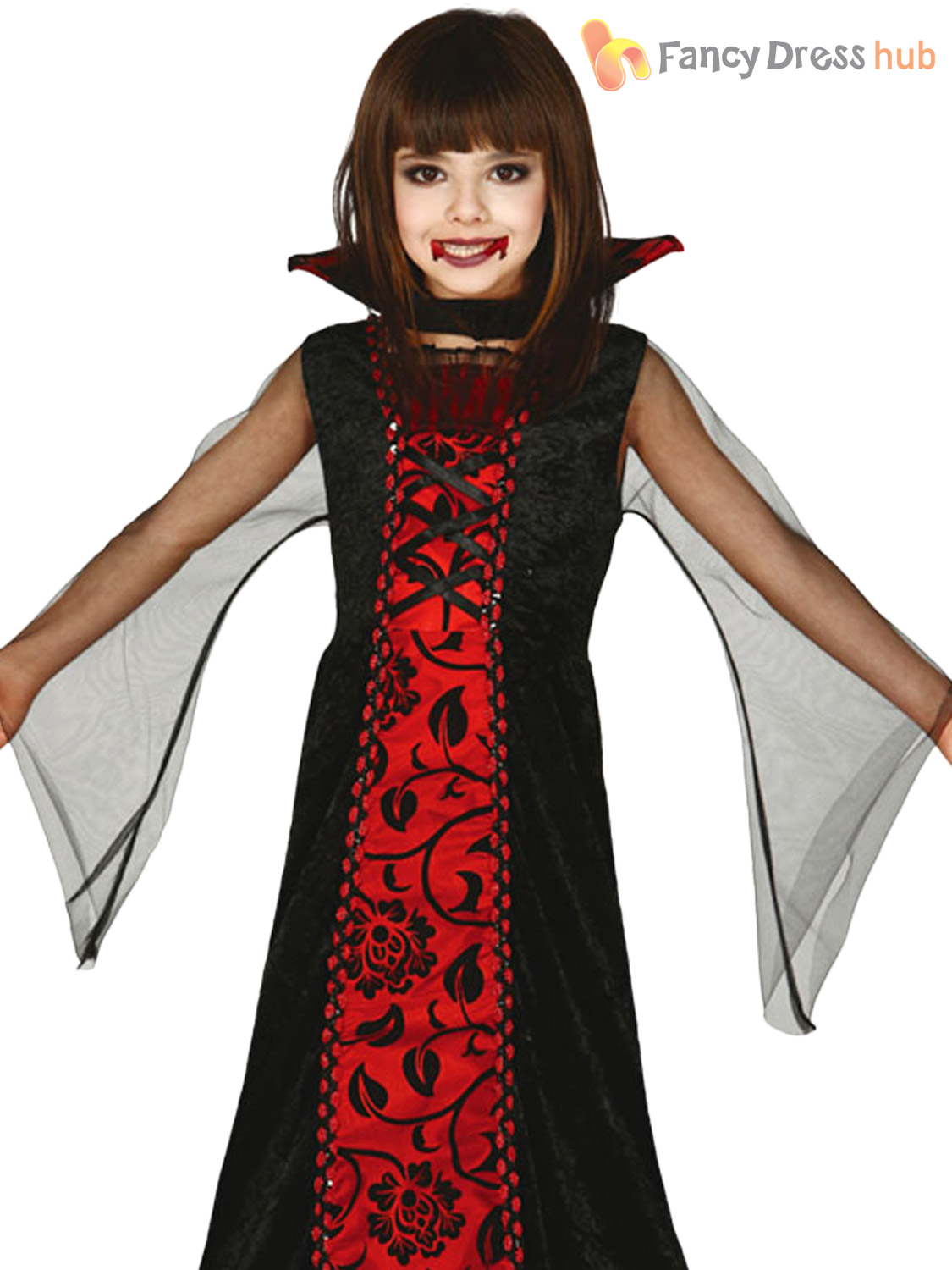 Childs-Countess-V&ire-Costume-Girls-Halloween-Dracula-Fancy-  sc 1 st  eBay & Childs Countess Vampire Costume Girls Halloween Dracula Fancy Dress ...