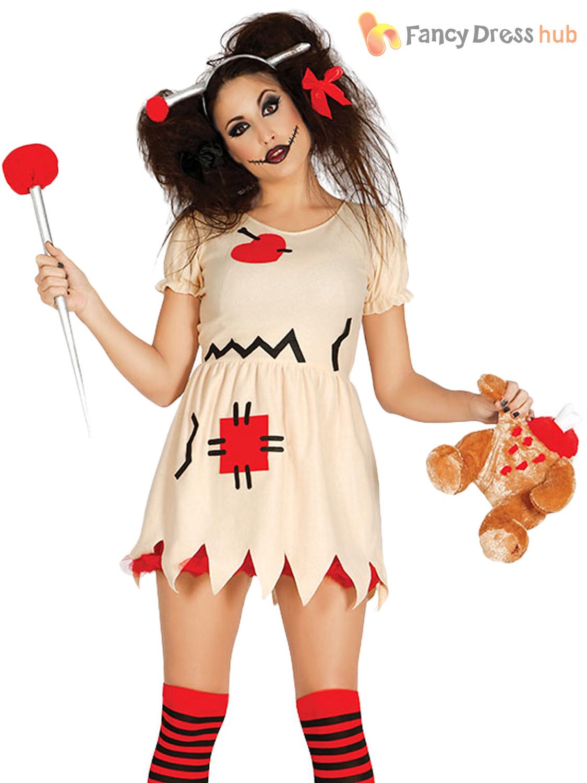 Ladies-Voodoo-Doll-Costume-Adults-Halloween-Zombie-Fancy-  sc 1 st  eBay & Ladies Voodoo Doll Costume Adults Halloween Zombie Fancy Dress ...