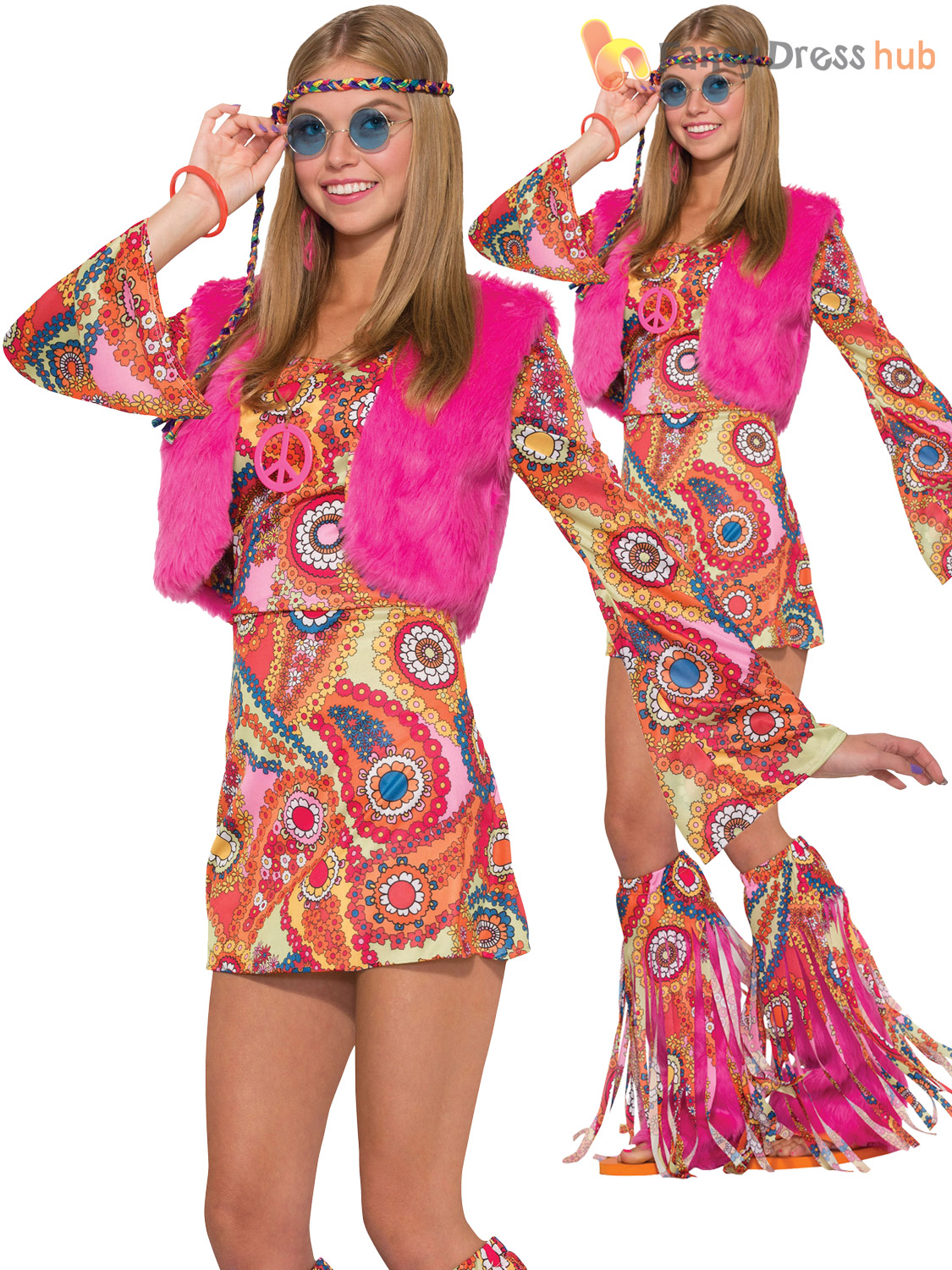 Ladies Hippy 60s 70s Groovy Costume Adult Flower Hippie Fur Fancy ...