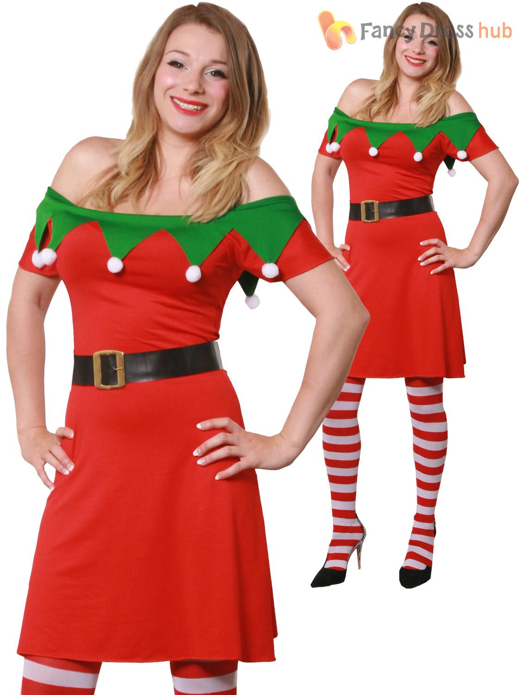 ladies christmas elf fancy dress adults santas helper - Christmas Clothes For Adults
