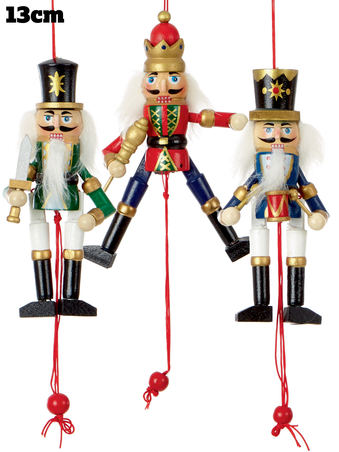 nutcracker tree decoration christmas wooden hanging pullstring xmas ornament 13c ebay. Black Bedroom Furniture Sets. Home Design Ideas