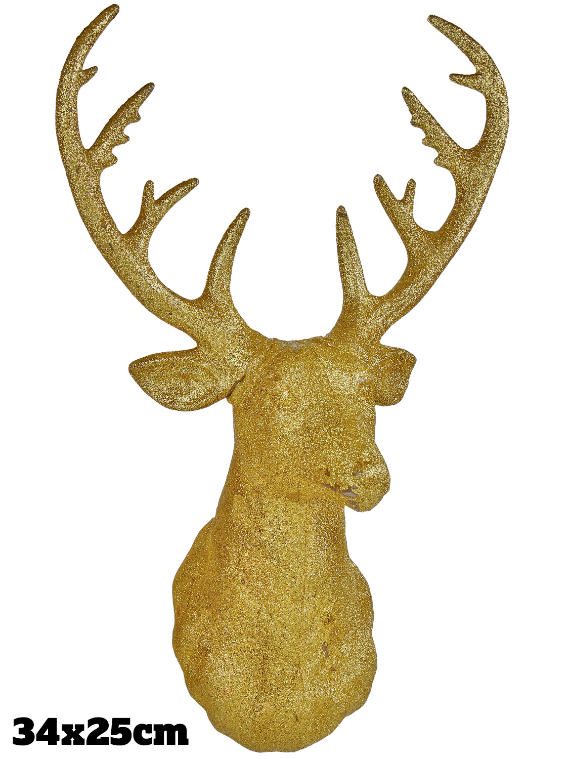 31x 23cm Glitter Stag Head Christmas Xmas Decoration Wall Mounted ...