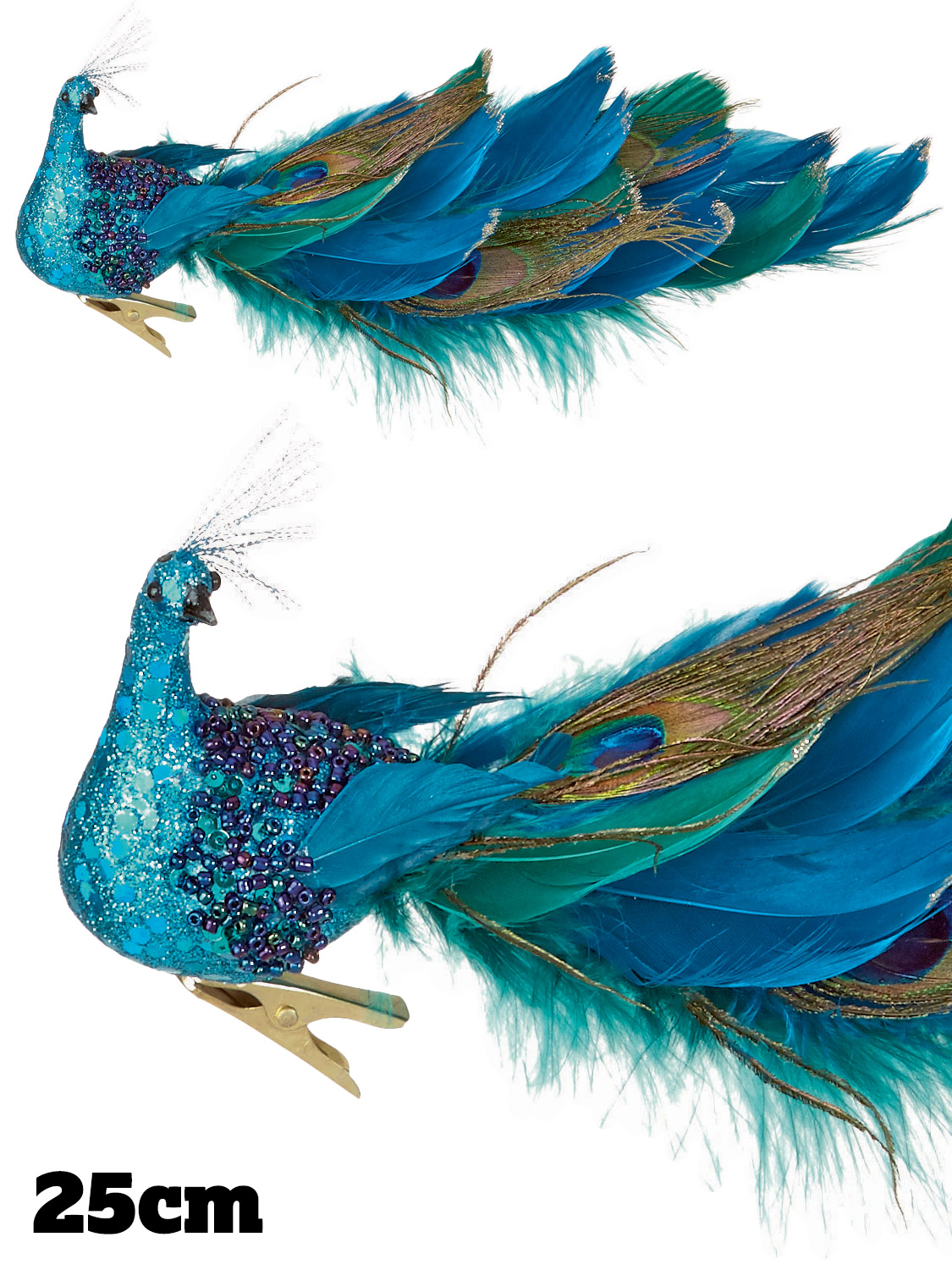 deluxe clip on peacock feather christmas tree decoration glitter turquoise blue ebay. Black Bedroom Furniture Sets. Home Design Ideas