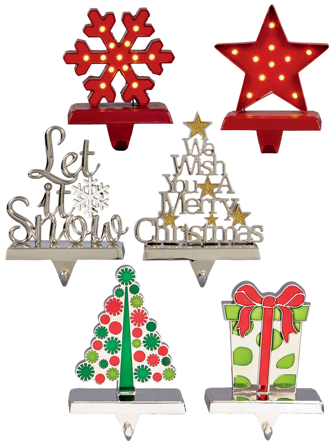 these heavy made metal stocking hangers will look perfect on your mantle piece this christmas