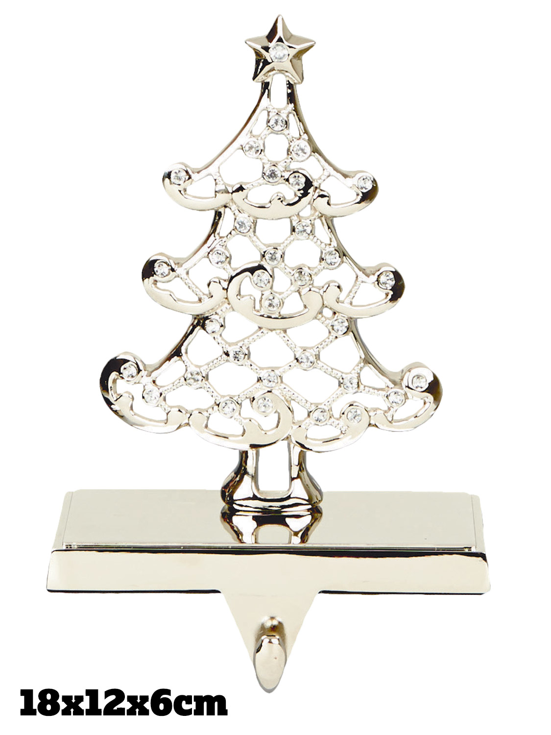 Silver stocking holder christmas decoration fireplace for Mantle holders