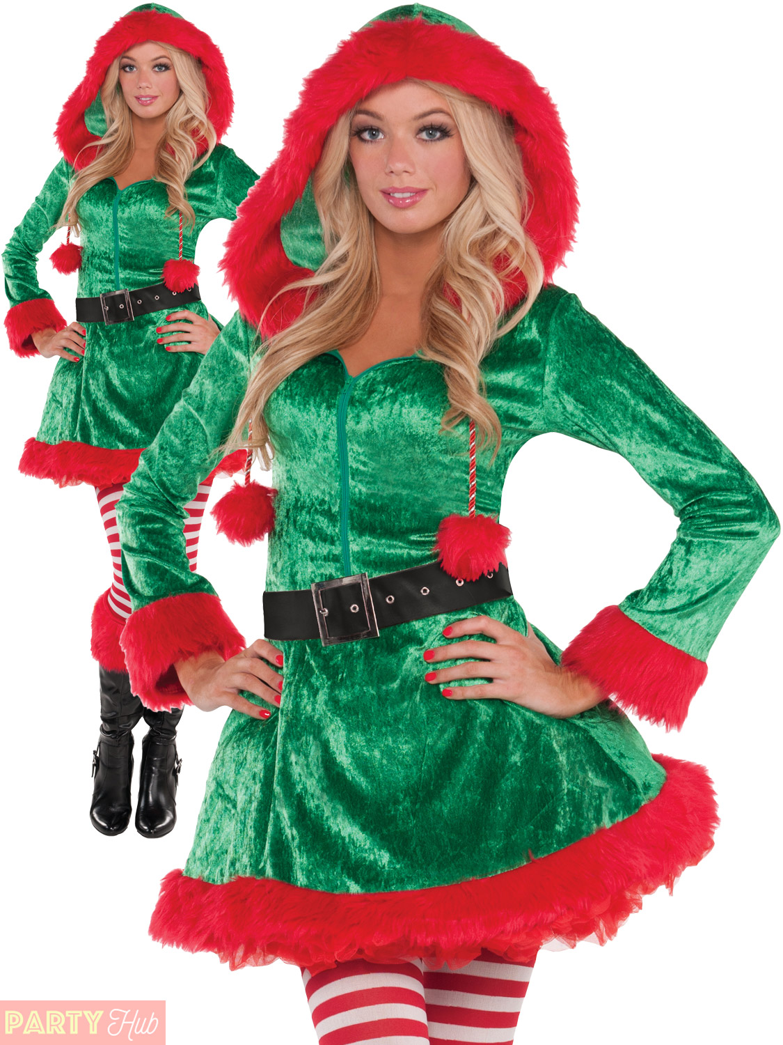 ladies elf costume adults christmas mrs santa claus fancy