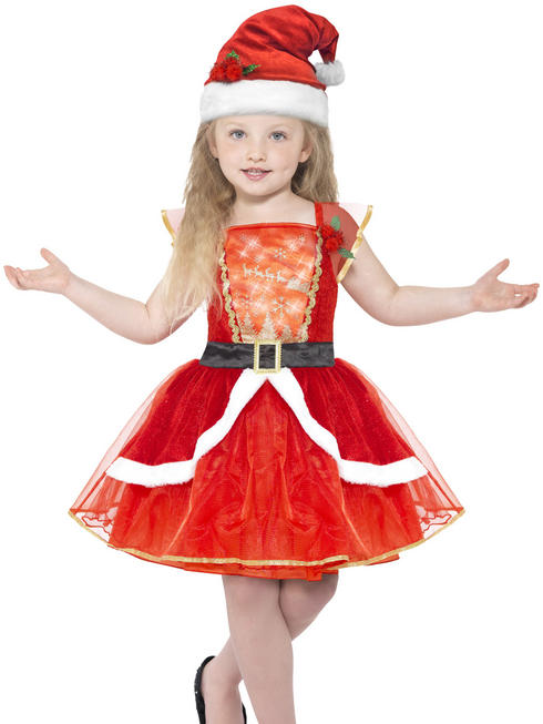 Girl's Light Up Miss Santa Costume + Hat