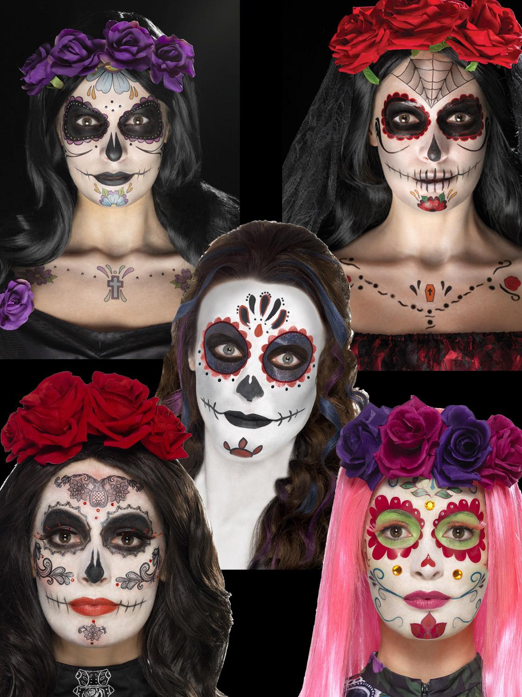 womens ladies fancy dress accessory DAY OF THE DEAD SKULL EARRINGS HALLOWEEN