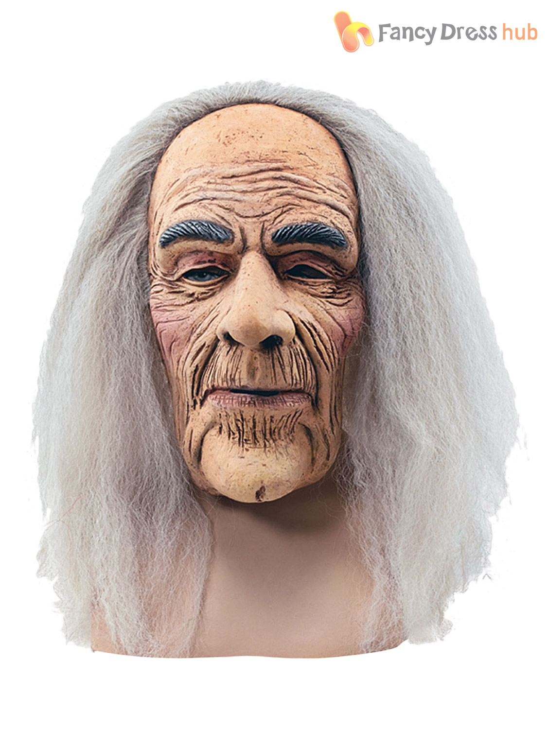 Mens Old Man Wizard Latex Mask & Grey Hair Halloween Fancy Dress ...
