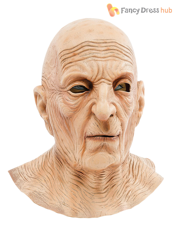 Mens Old Man Wizard Latex Mask & Grey Hair Halloween Fancy Dress ...