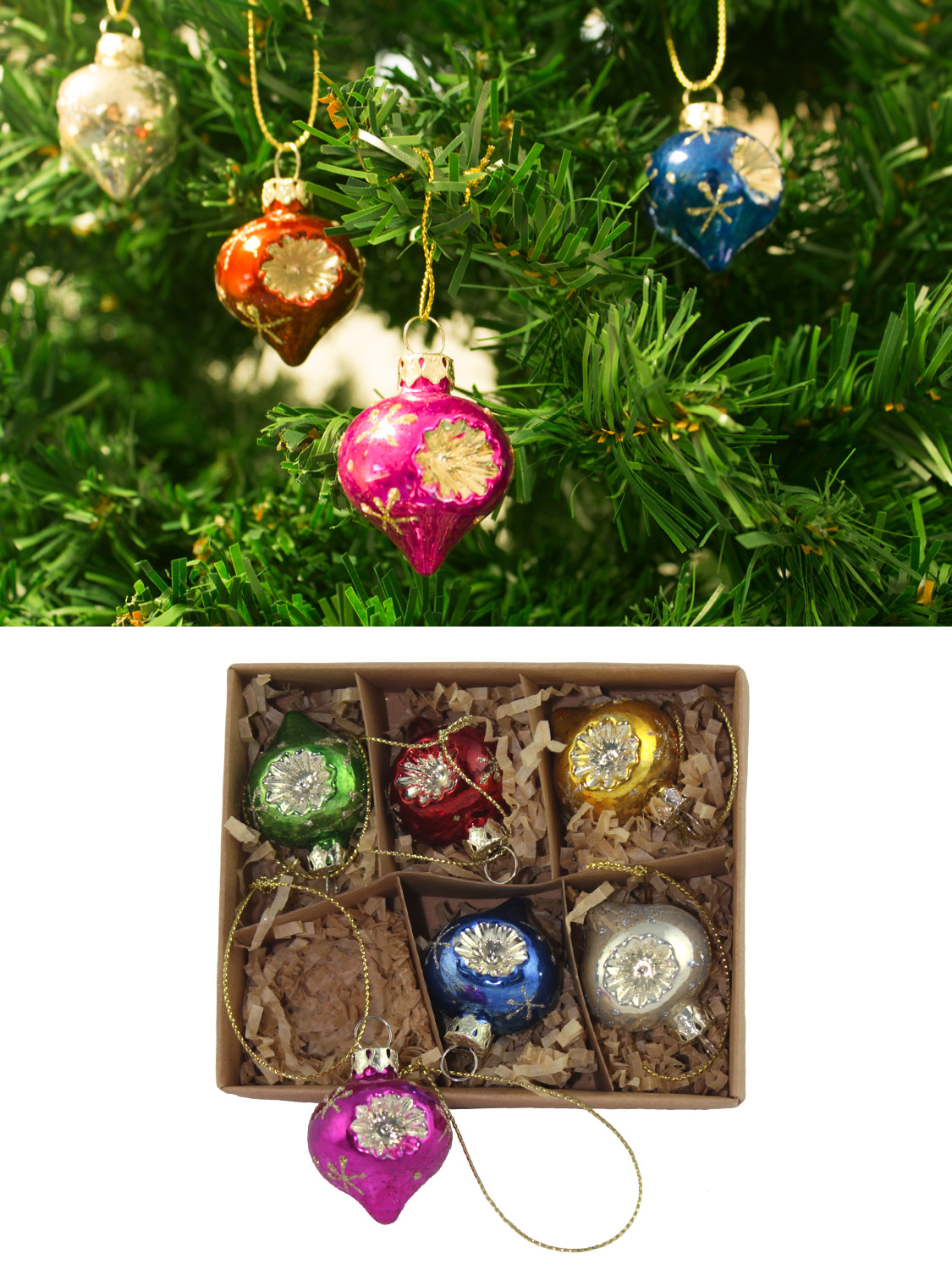 gisela graham glass christmas tree decoration set mini