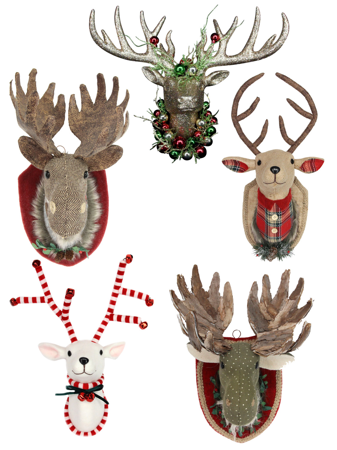 Christmas Raindeer.Details About Gisela Graham Fabric Moose Stag Christmas Reindeer Hanging Head Wall Plaque