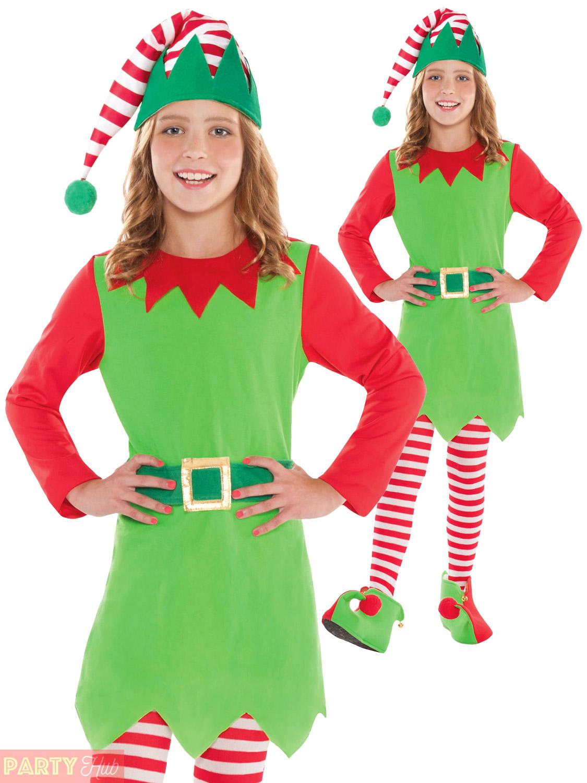 Brand New Santa/'s Helper Girl Christmas Elf Child Costume Medium