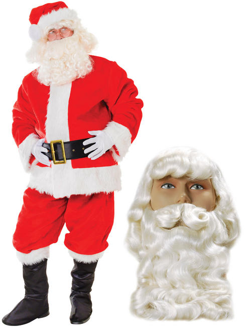 Men's Deluxe Plush Santa Suit, Wig & Beard