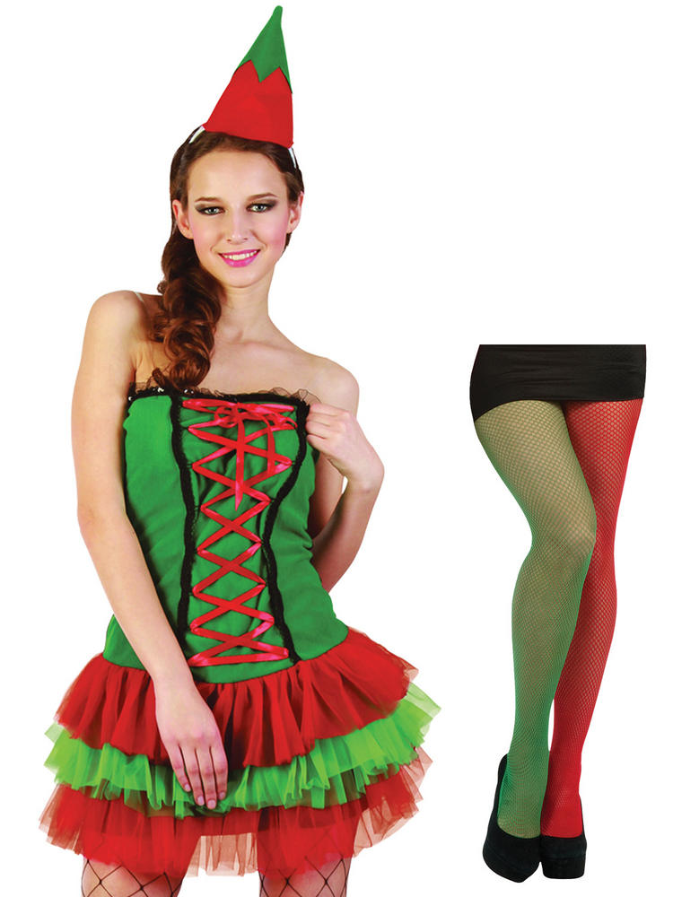 Ladies Christmas Elf Costume & Tights