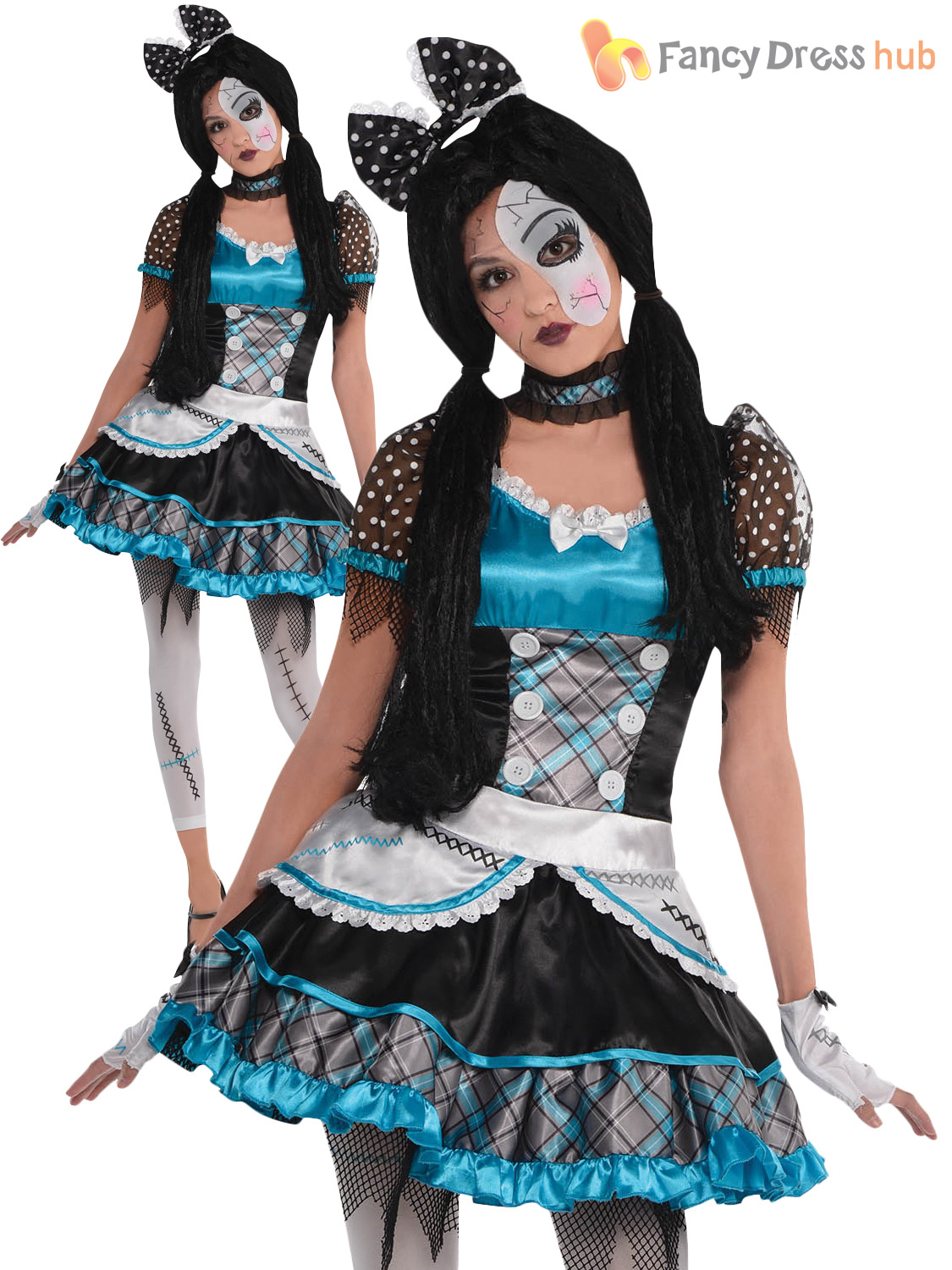 fb2e489f707 Ladies Broken Doll Costume Adults Halloween Fancy Dress Womens ...