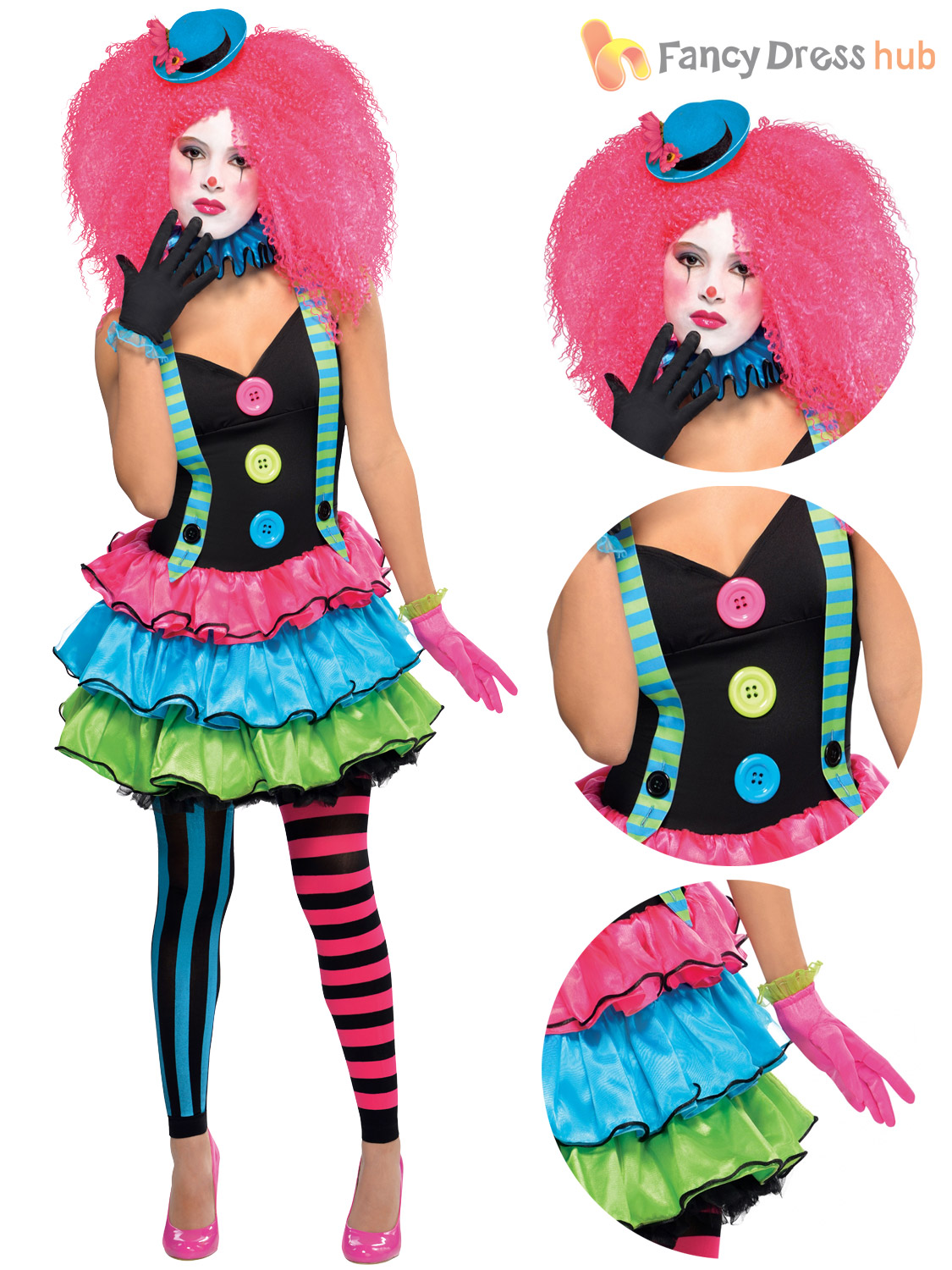 Ladies-Clown-Costume-Adults-Cool-Halloween-Fancy-Dress-  sc 1 st  eBay & Ladies Clown Costume Adults Cool Halloween Fancy Dress Womens Circus ...