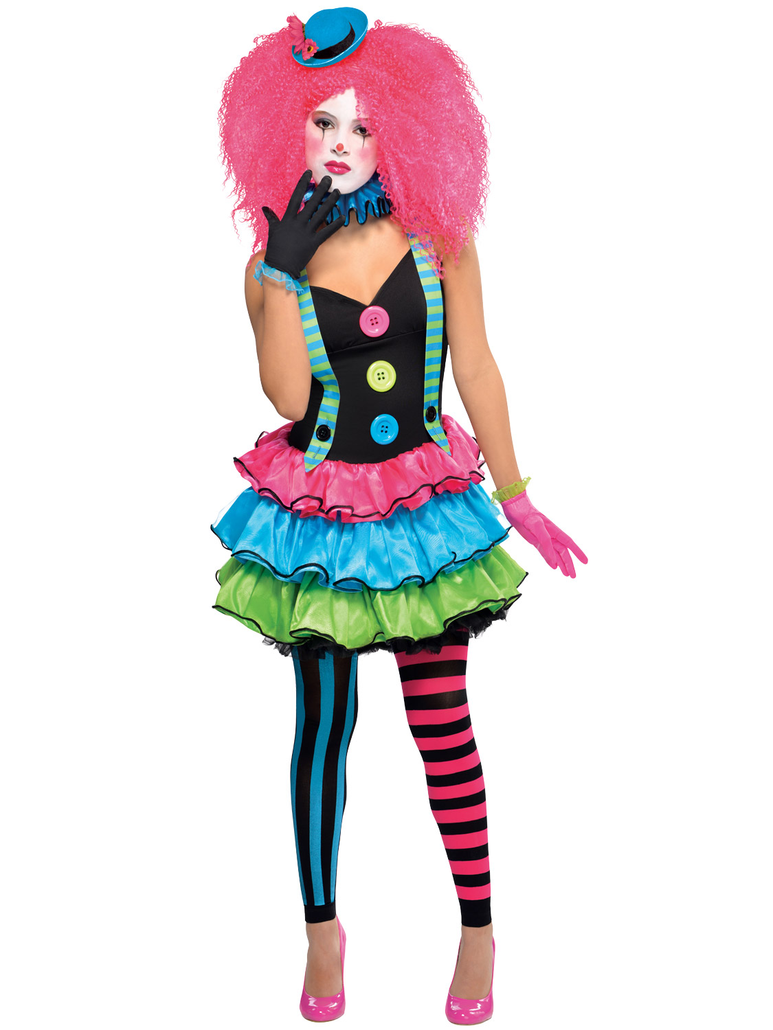 Details about Ladies Clown Costume Adults Cool Halloween Fancy Dress Womens  Circus Outfit b9a6e3297