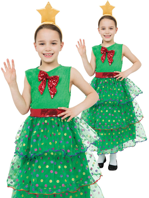 Girls Christmas Tree Costume Childs Xmas Fancy Dress Kids Novelty Outfit Ebay
