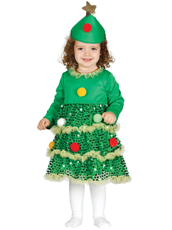 Image 3  sc 1 st  eBay & Girls Christmas Tree Costume Childs Toddler Xmas Fancy Dress Kids ...